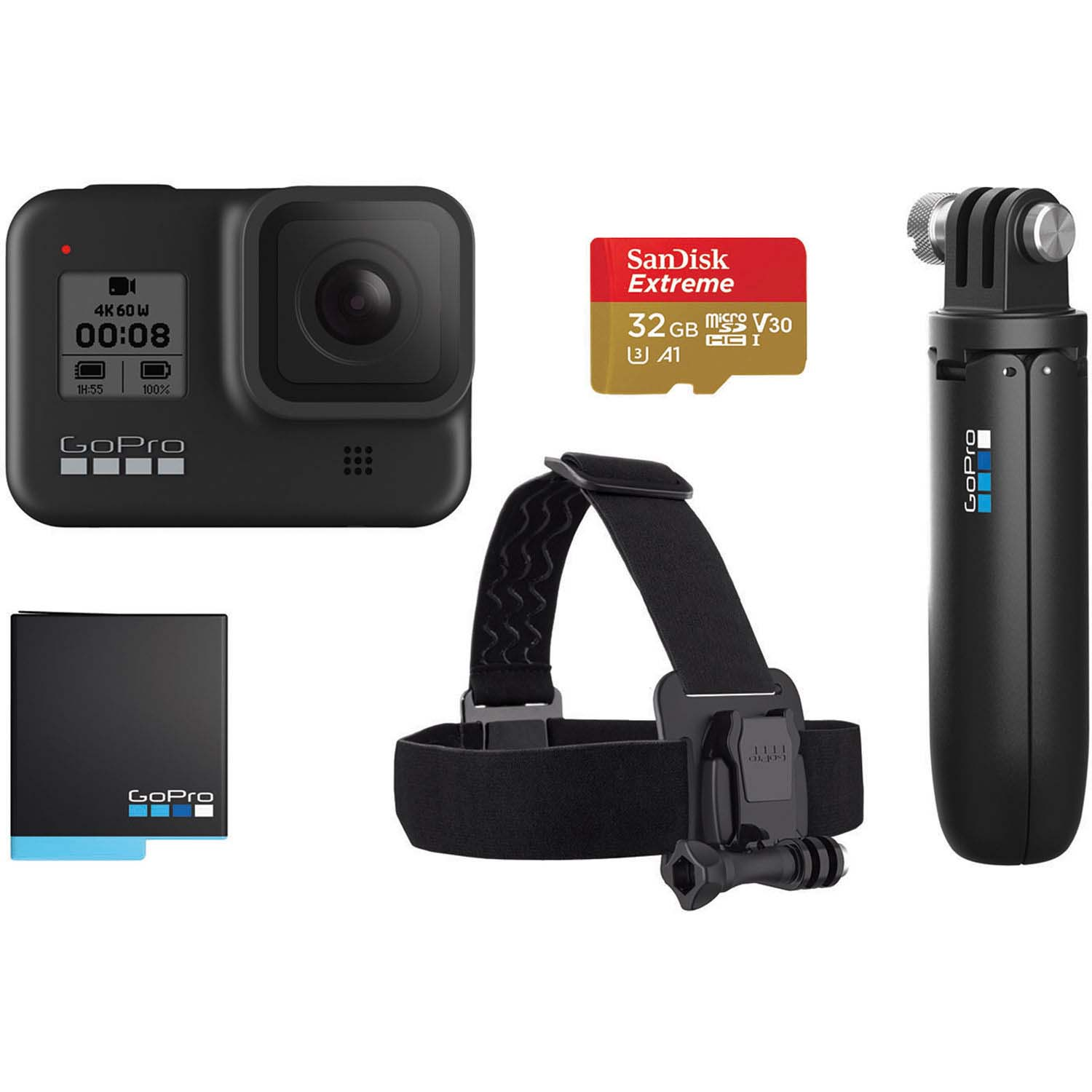 CAM GOPRO HERO 8 BLACK KIT (EMPUÑADURA+CORREA+SD 32GB+BATER)