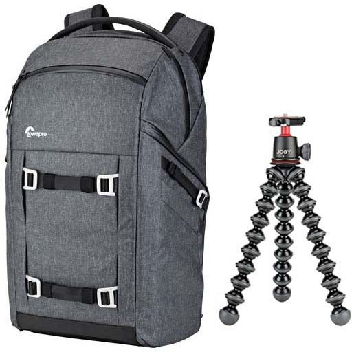 KIT LOWEPRO FREELINE BP 350 AW GRIS + TRIPODE GORILLAPOD 3K